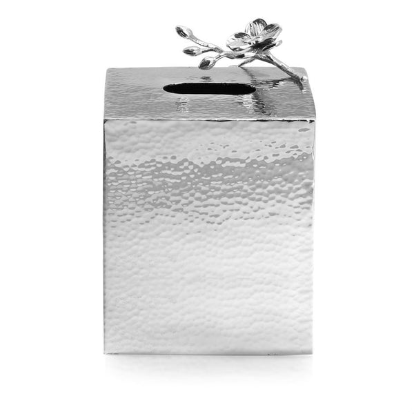 White Orchid Tissue Box Holder