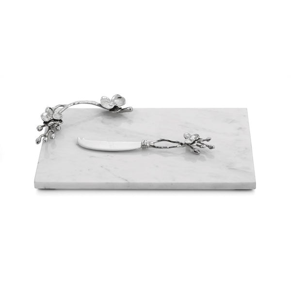 White Orchid Small Cheeseboard with Knife
