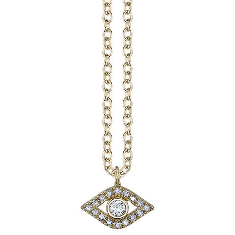Extra Large Diamond Bezel Eye Necklace