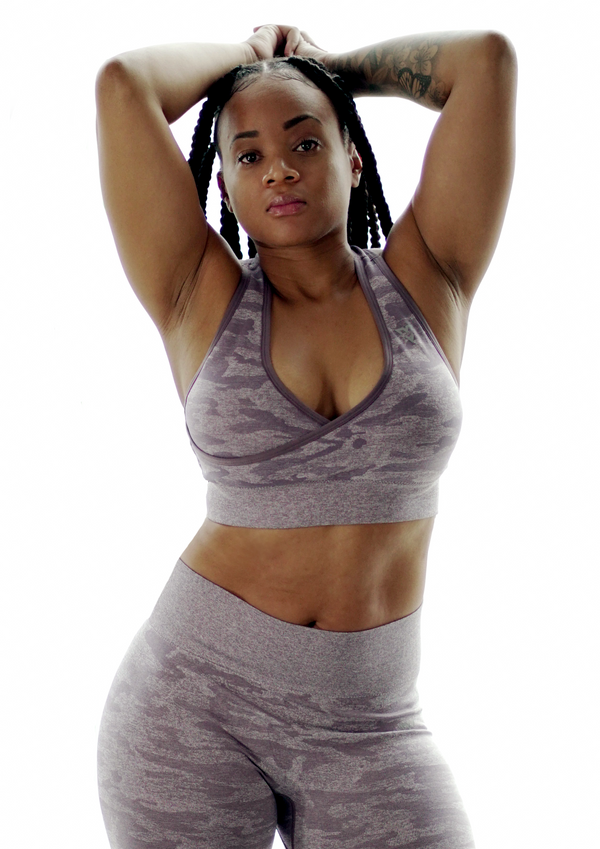 Salient + Radiance Camo Sports Bra Dusty Purple