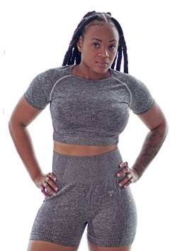 Salient + Animate Crop Top Space Dye Gray