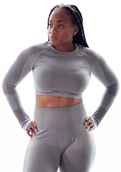 Salient + Fervent Crop Top Long sleeve Gray