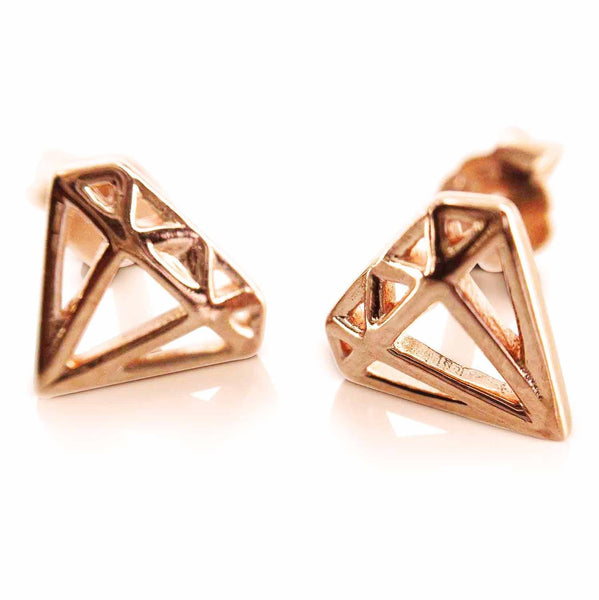 Diamond Shaped Rose Gold Earrings