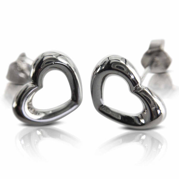 Sterling Silver Earrings - Silver Heart Earrings (203) at Evulfi. Nab yours today!
