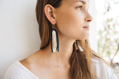 Archway Earring in Navy