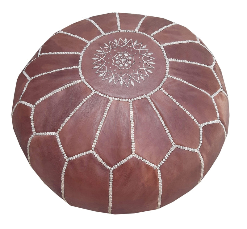 Alcantara-Frederic Leather Pouf Chocolate Goat Leather Pouf