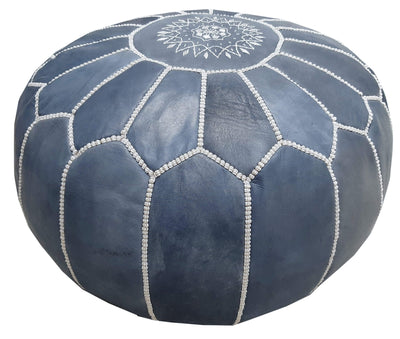 Alcantara-Frederic Leather Pouf Indigo Goat Leather Pouf