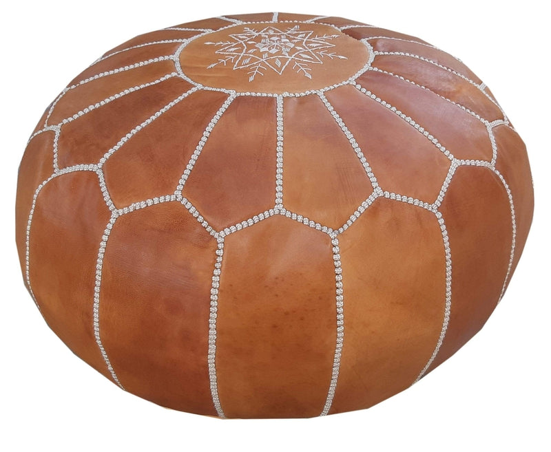 Alcantara-Frederic Leather Pouf Natural Goat Leather Pouf
