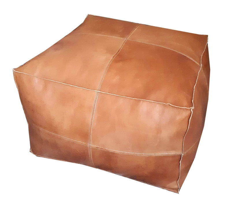 Alcantara-Frederic Leather Pouf Square Goat Leather Pouf (Large)