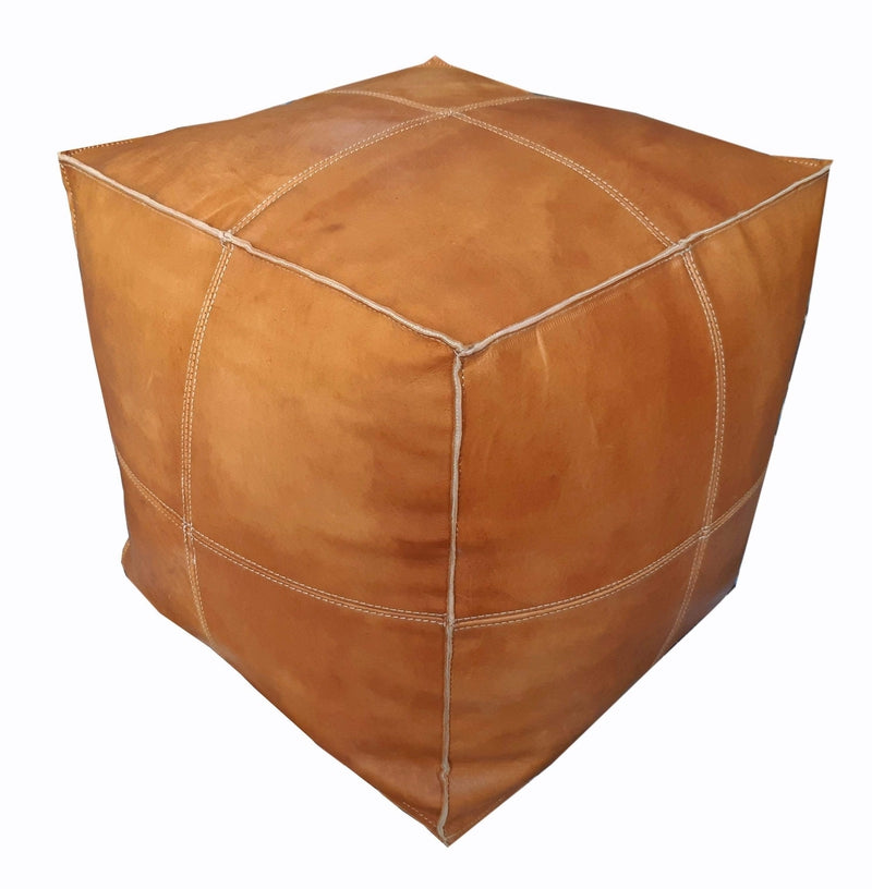 Alcantara-Frederic Leather Pouf Square Goat Leather Pouf (Small)
