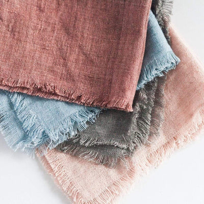 Creative Women Napkins STONE WASHED LINEN COCKTAIL NAPKIN - ASH ROSE