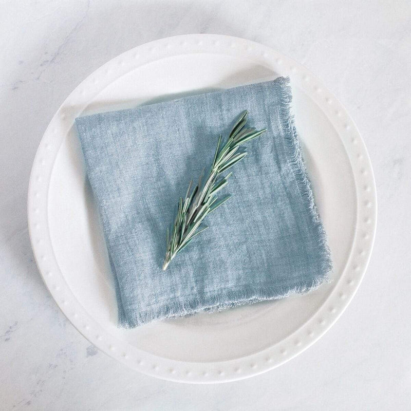 Creative Women Napkins STONE WASHED LINEN COCKTAIL NAPKIN - LIGHT BLUE