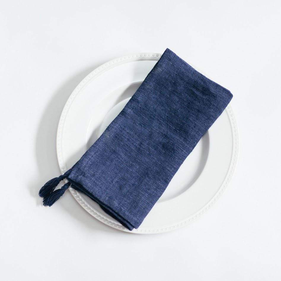 Creative Women Napkins STONE WASHED LINEN TASSELED NAPKIN- NAVY