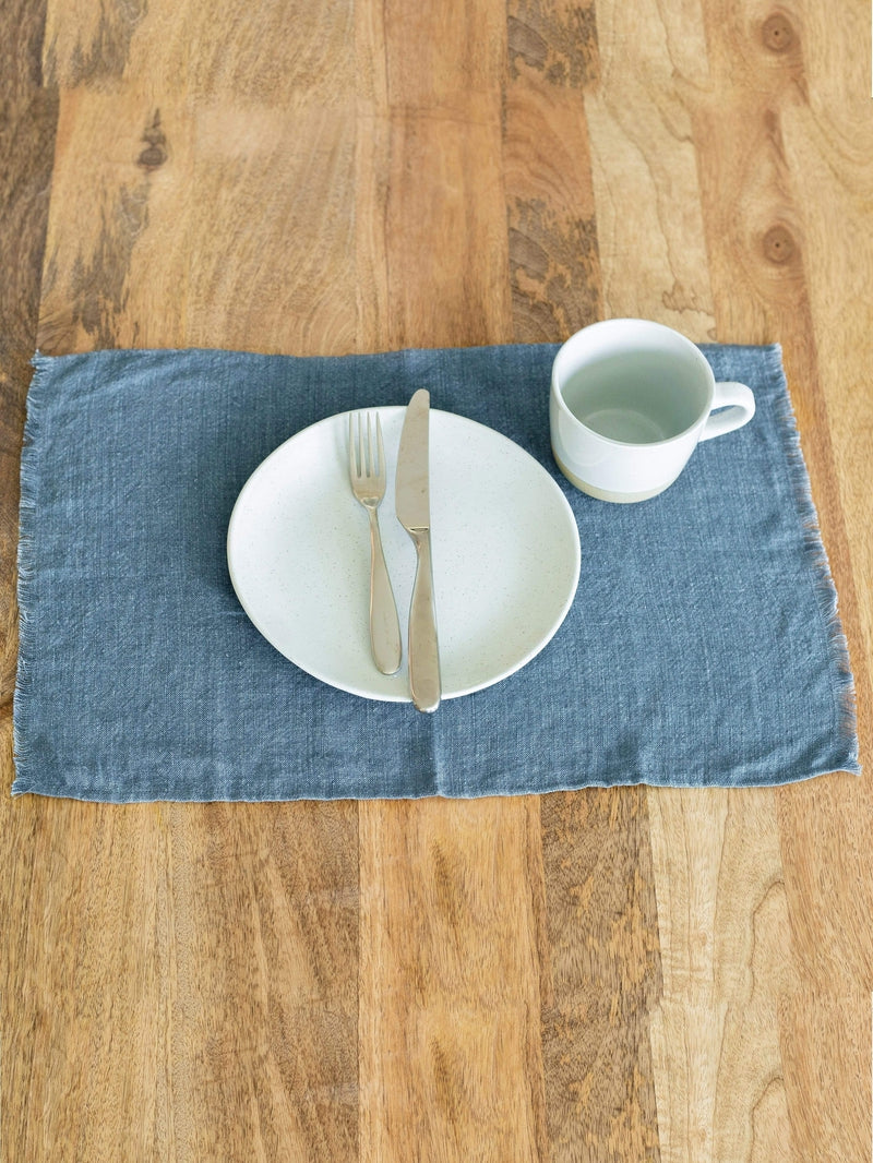 Creative Women Placemat STONE WASHED LINEN PLACEMAT - DENIM