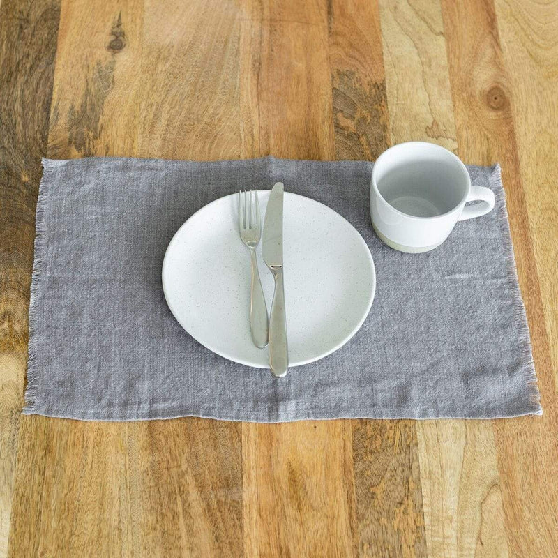 Creative Women Placemat STONE WASHED LINEN PLACEMAT - GREY