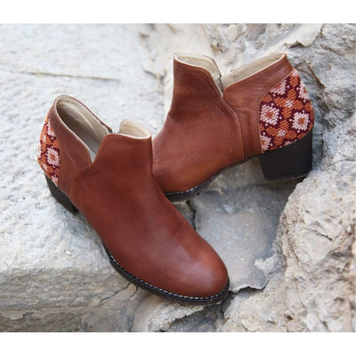 Darzah Boots Tatreez Ankle Boot in Brown