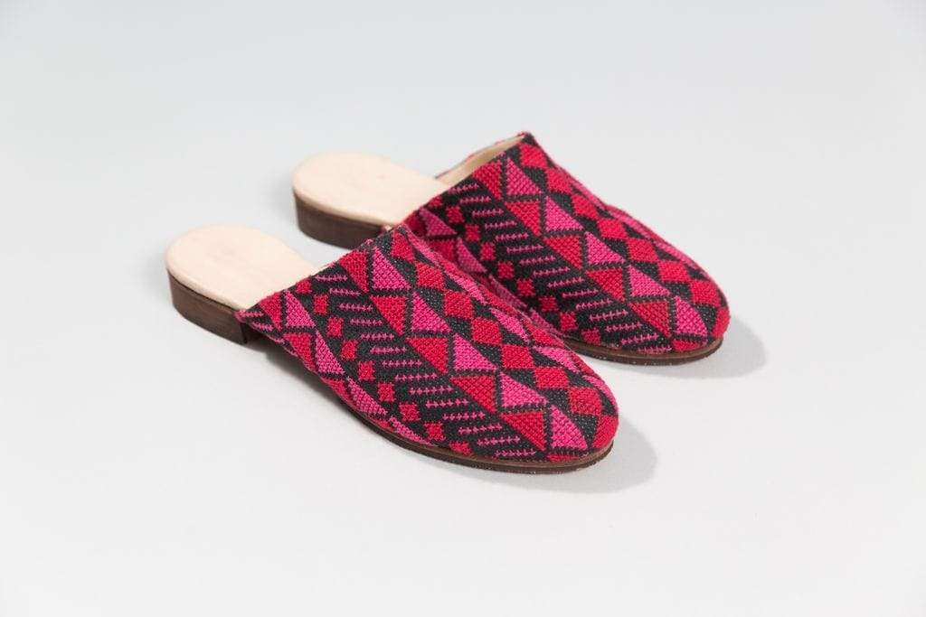 Darzah Mules Magenta and Rose Tatreez Mule
