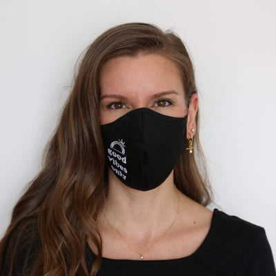 FOSTERIE Face Mask Good Vibes Embroidered Mask