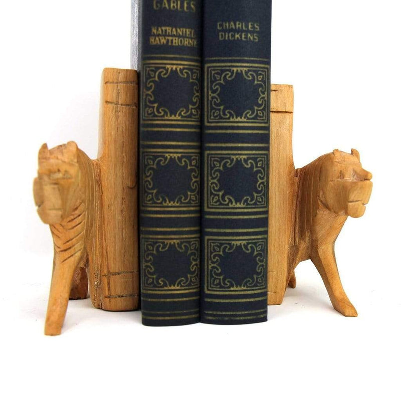 Jedando Carved Wood Lion Bookends (Set of 2)