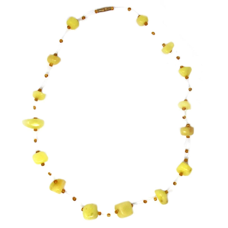 Jedando Necklace Floating Stone & Maasai Bead Necklace, Yellow