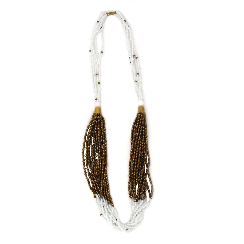Jedando Necklace Multistrand Maasai Bead Necklace, White and Gold
