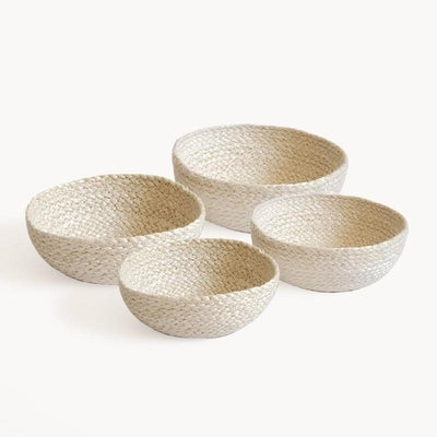 KORISSA Basket Kata Candy Bowl - White (Set of 4)