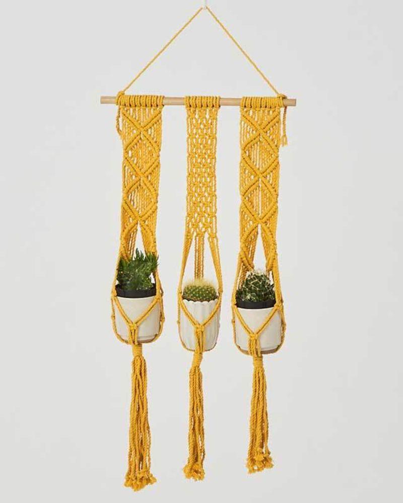 Love for Nica Leon Macrame Plant Holder in Yellow