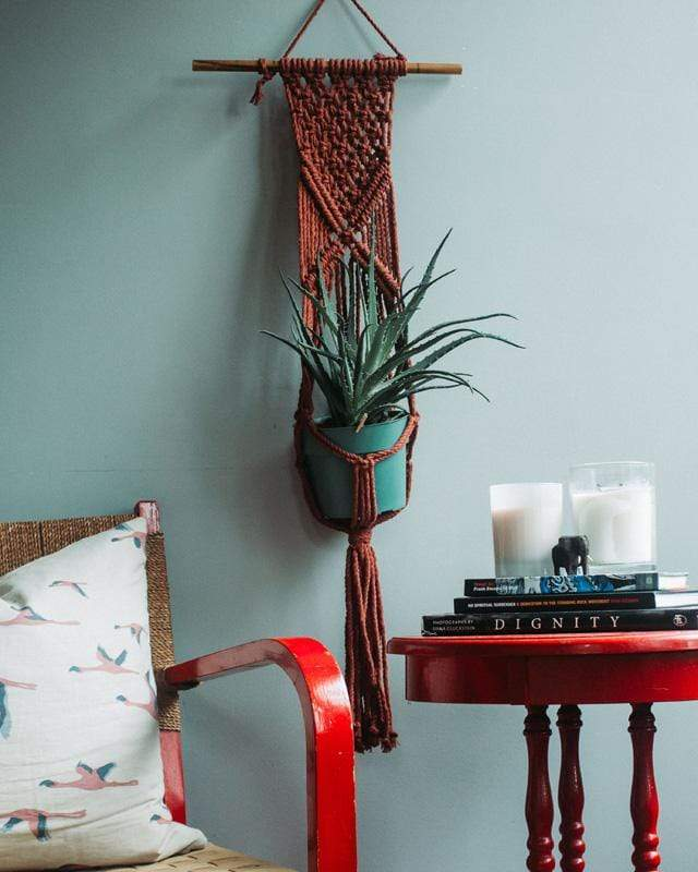 Love for Nica Mombacho Macrame Plant Holder in Tile Red
