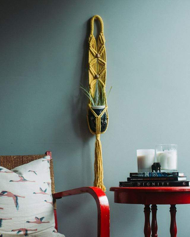 Love for Nica Somoto Macrame Plant Holder in Yellow