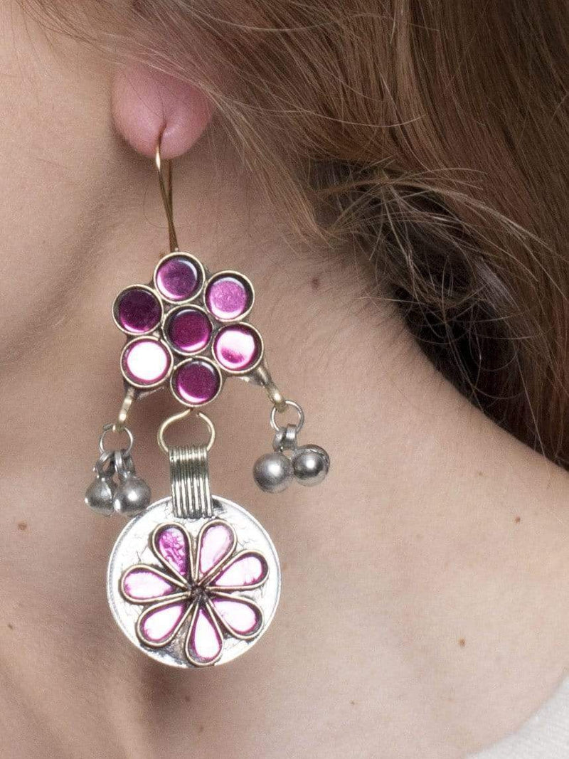 Made by hand in Afghanistan Earrings Naderah Afghani Earrings - Pink