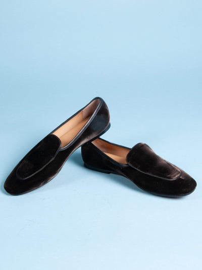 Made by hand in India Smoking Slippers Women's Indian Slip-on Velvet Smoking Loafers in Black