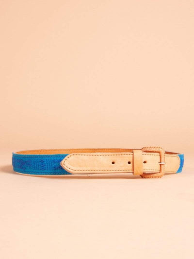 Made by hand in Mexico Belt Men's Oaxacan Embroidered Leather Belt
