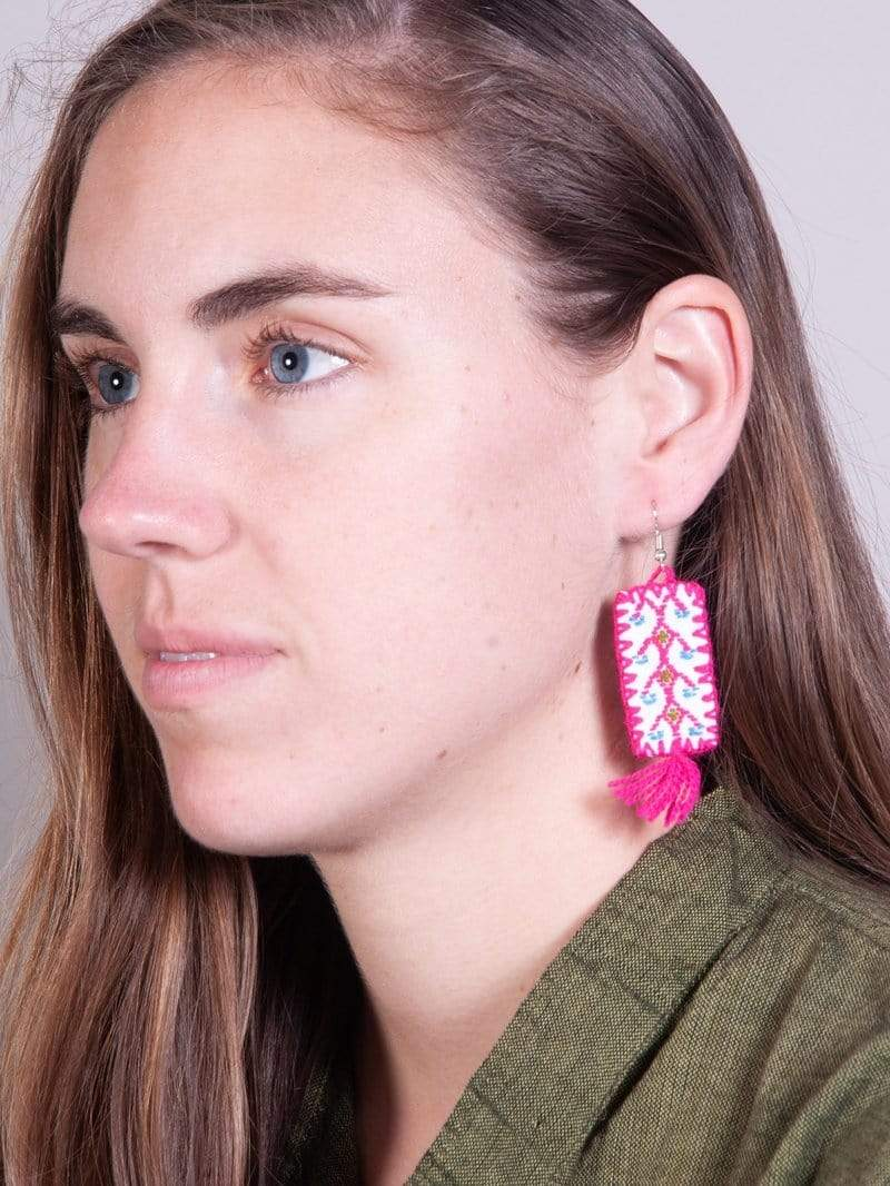 Made by hand in Mexico Earrings Lena Mexican Fabric Earrings