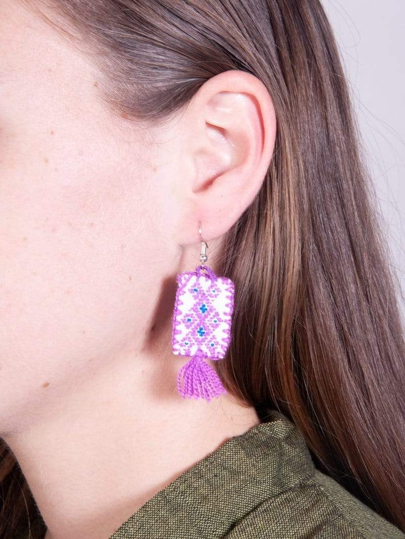 Made by hand in Mexico Earrings Lola Mexican Fabric Earrings