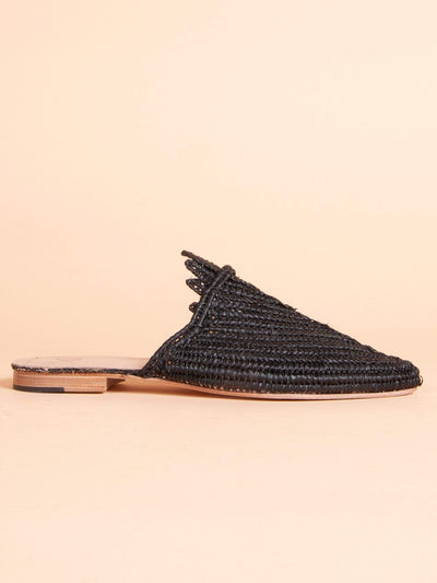 Made by hand in Morocco Flats Women's Hand Woven Raffia Palm Slide in Black