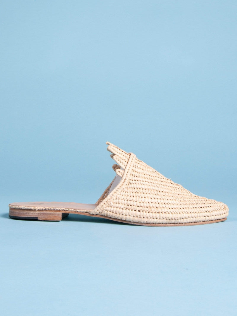 Made by hand in Morocco Flats Women's Hand Woven Raffia Palm Slide in Tan