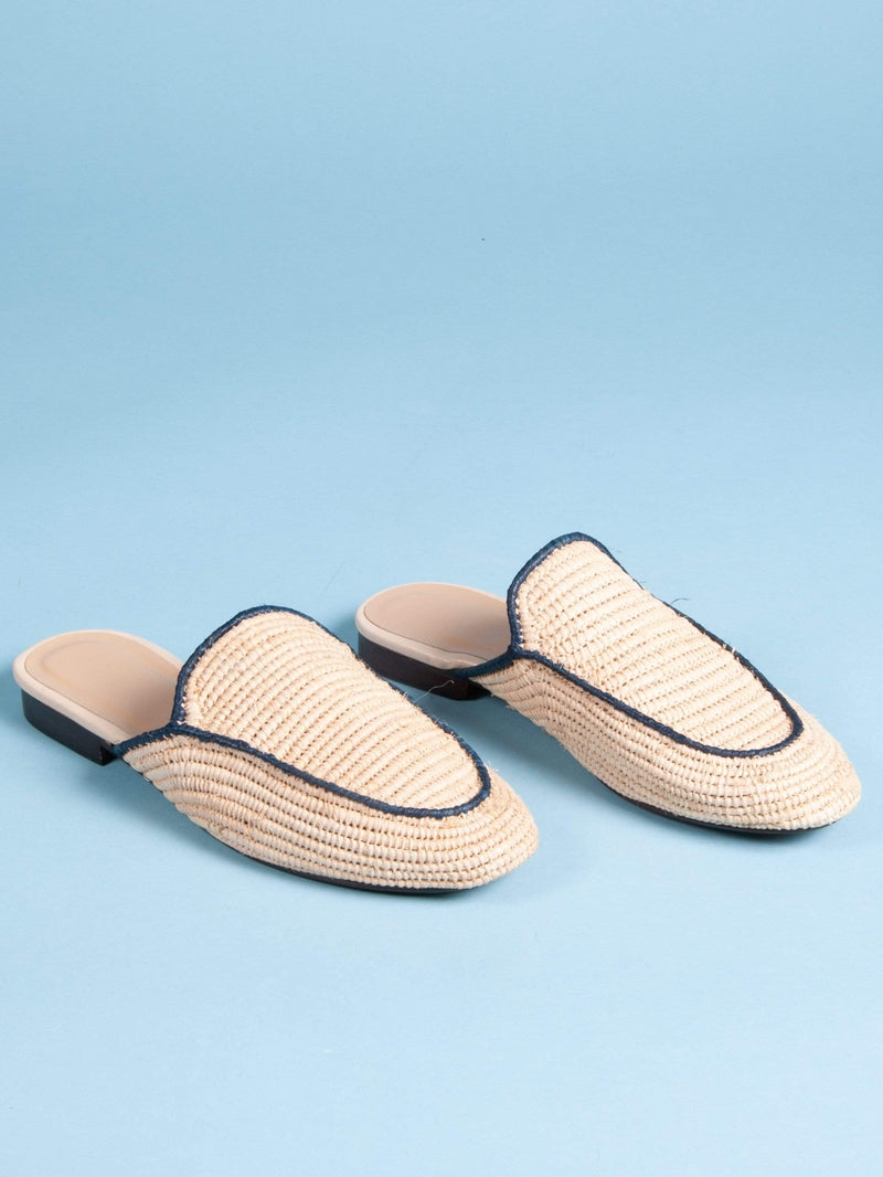 Made by hand in Morocco Flats Women's Hand Woven Raffia Slide Mule with Navy Piping