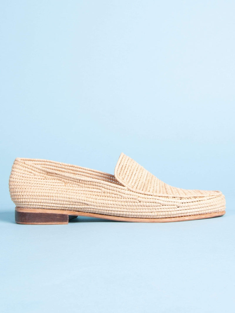 Made by hand in Morocco Loafers Women's Moroccan Raffia Loafer in Tan