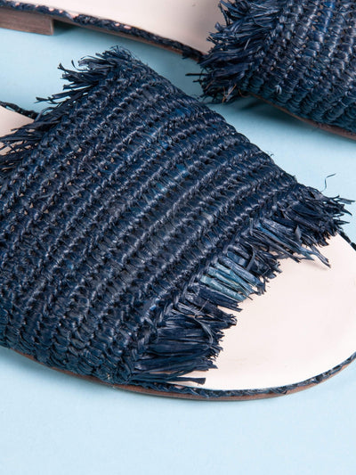 Made by hand in Morocco Sandals Raffia Sandal Navy