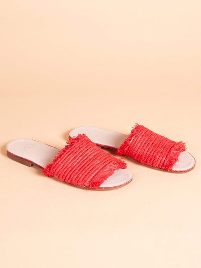 Made by hand in Morocco Sandals Raffia Sandal Red
