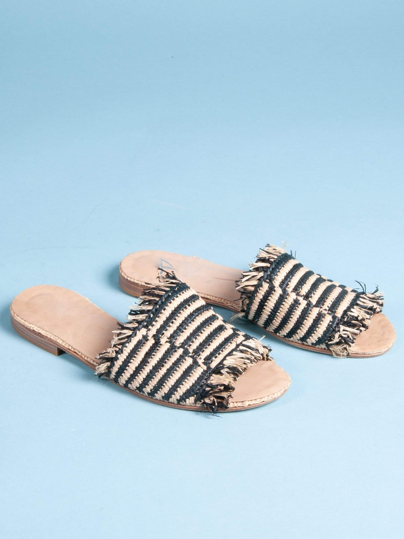 Made by hand in Morocco Sandals Raffia Sandal with Fringe (Black/Natural)