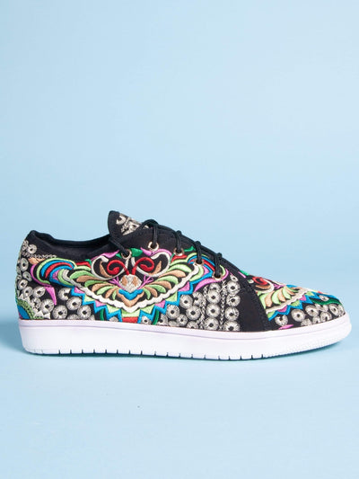Made by hand in Thailand Sneakers Men's Thai Tams Embroidered Sneaker in Black