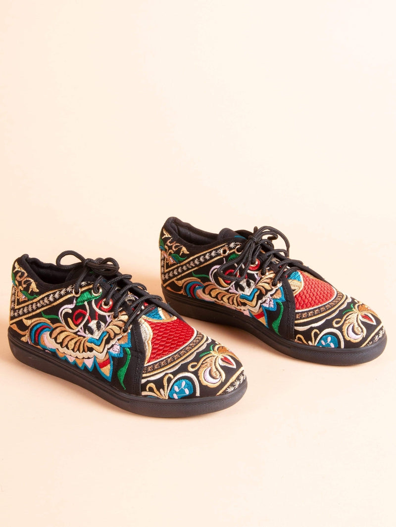Made by hand in Thailand Sneakers Women's Thai Bombay Basher Embroidered Sneaker Black