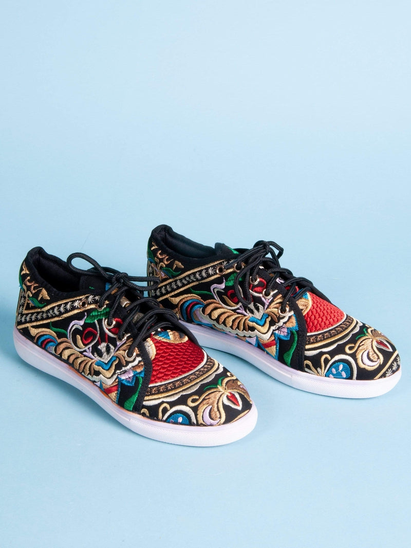 Made by hand in Thailand Sneakers Women's Thai Bombay Basher Embroidered Sneaker in Black with White Sole