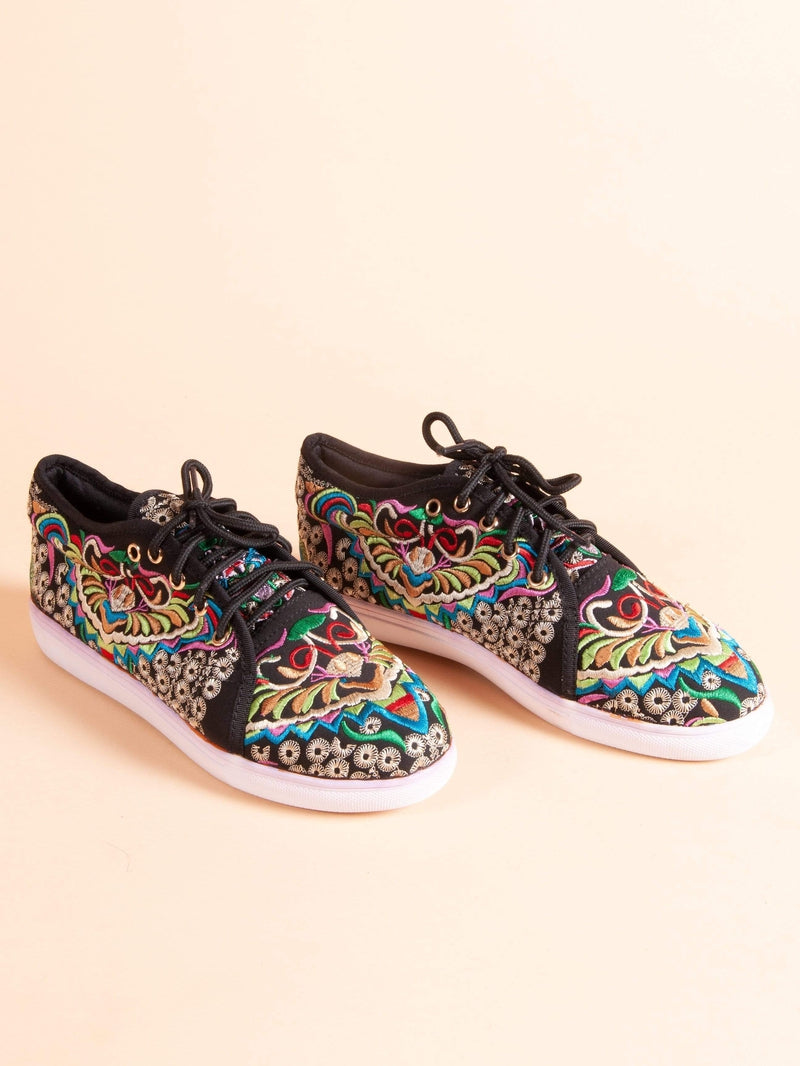 Made by hand in Thailand Sneakers Women's Thai Embroidered Sneaker in Black