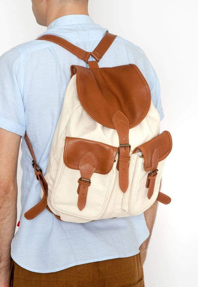 New Market Goods Backpack Field Backpack in Natural Canvas