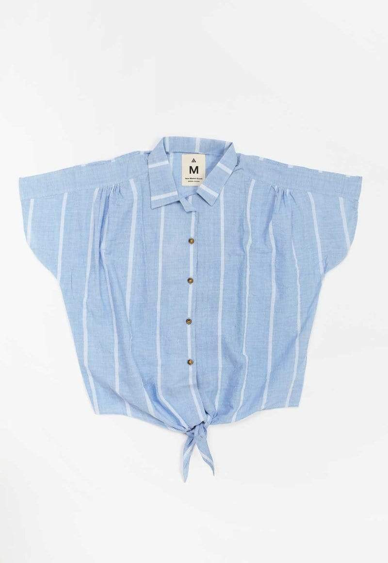 New Market Goods Shirt Lungi Blue Front Tie Shirt