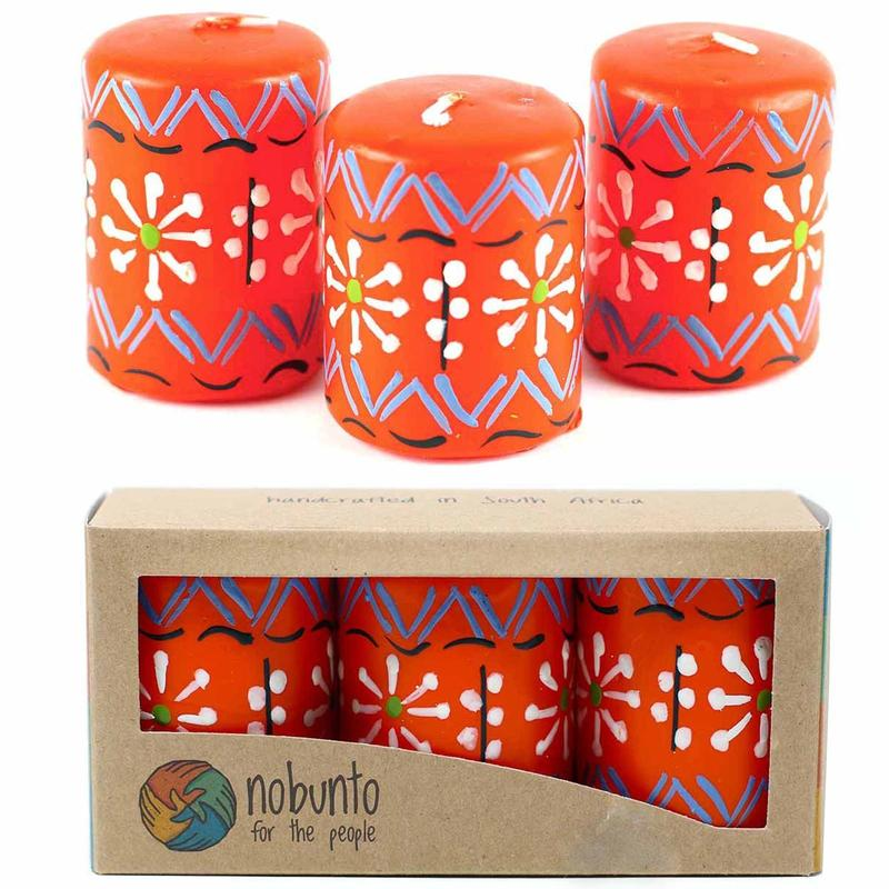 Nobunto Candles Hand Painted Candles in Orange Masika Design (Box of Three)