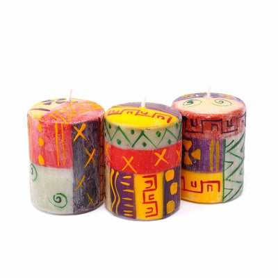 Nobunto Candles Set of Three Boxed Hand-Painted Candles - Indaeuko Design