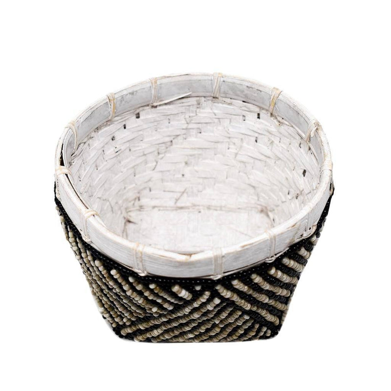 Poppy + Sage Basket Bamboo Beaded Trinket Basket